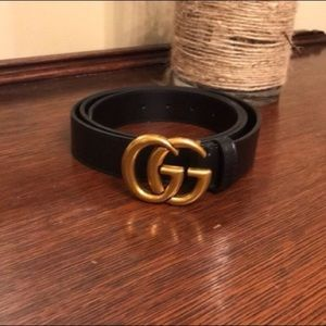 GG Black Leather Belt